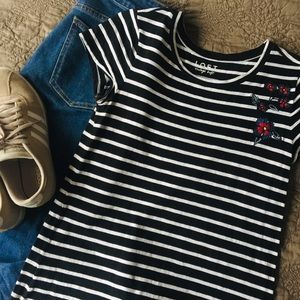 LOFT Vintage Soft Striped and Embroidered Tee